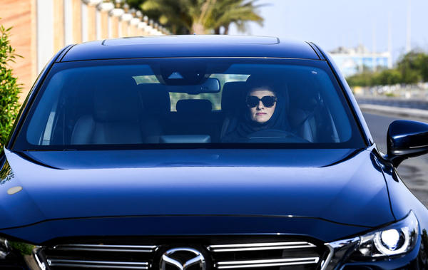Hala Hussein Alireza, a newly licensed motorist, drives a car on a main road in Jeddah early on Sunday.