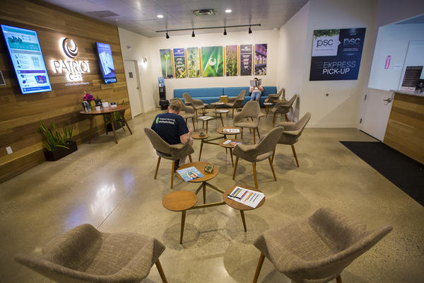 Patriot Care's waiting room in Lowell (Jesse Costa/WBUR)