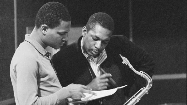 John Coltrane (right) with McCoy Tyner at New Jersey's Van Gelder studios in 1963, one day after the session that would become the newly unveiled <em>Both Directions at Once</em>.