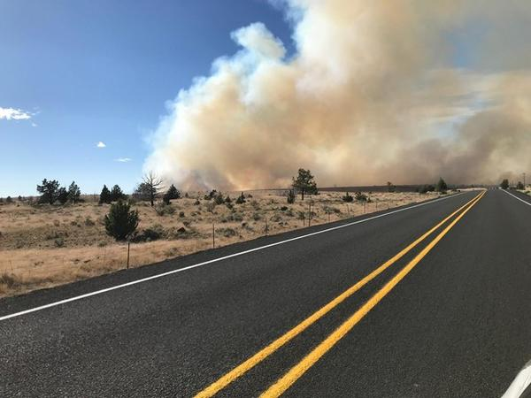 <p>Smoke from the Boxcar Fire along Highway 197 near Maupin, Oregon, Saturday, June 23, 2018.</p>