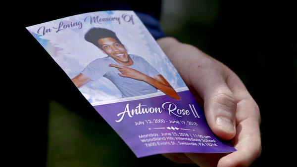 A memorial card from 17-year-old Antwon Rose II's funeral on Monday.