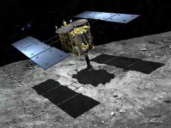 An artist's illustration shows the planned landing of the Hayabusa2 spacecraft on an asteroid.