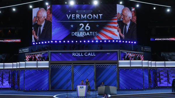 Sen. Bernie Sanders is seen after the Vermont delegation cast their votes during roll call at the 2016 Democratic National Convention in Philadelphia. After the bitter primary between Sanders and Hillary Clinton, the DNC set up a process that has led to reducing the role of party leaders in selecting the presidential nominee.
