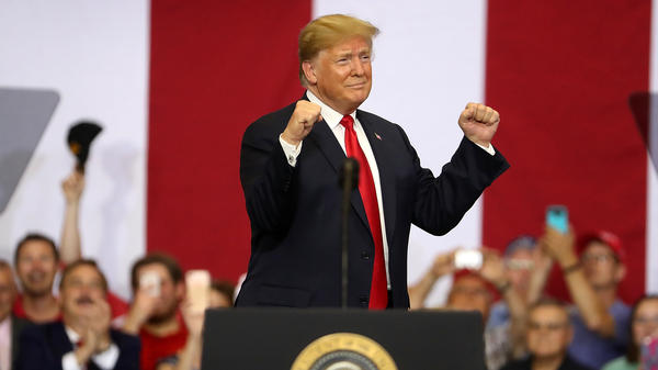 President Trump greets supporters during a campaign rally in Fargo, N.D., on Wednesday.