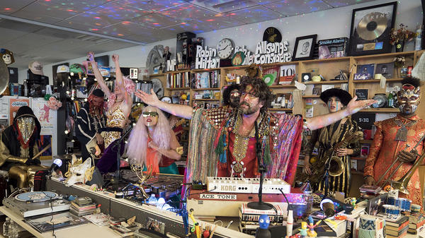Golden Dawn Arkestra performs a Tiny Desk Concert on February 6, 2018 (Eslah Attar/NPR).