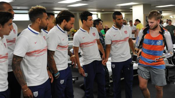 Members of the U.S. men's national soccer team visit with Cody Iorns at Walter Reed National Medical Center in Bethesda, Md., Sept. 3, 2015. Irons drowned Wednesday, at the age of 25, while paddleboarding in the Chesapeake Bay.