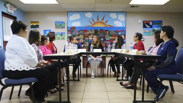 First lady Melania Trump participates in a roundtable discussion at Southwest Key Campbell, a shelter for children that have been separated form their parents in Phoenix, Ariz., Thursday.