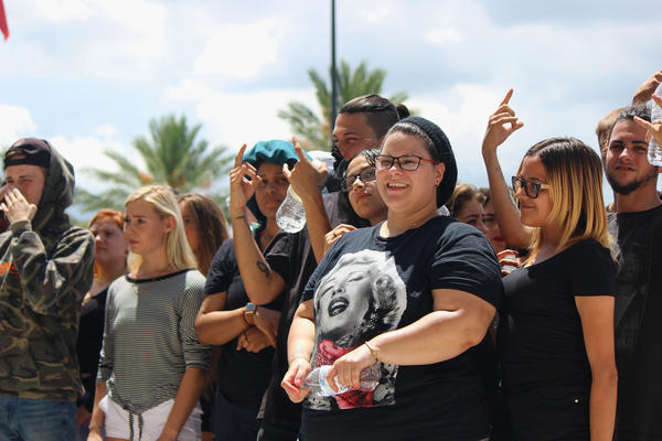 XXXTentacion fans of all ages gathered outside the rapper's memorial at the BB&T Center in Sunrise.