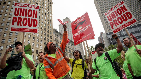 Union activists and supporters rally Wednesday in Lower Manhattan against the Supreme Court's ruling in <em>Janus v. AFSCME.</em>