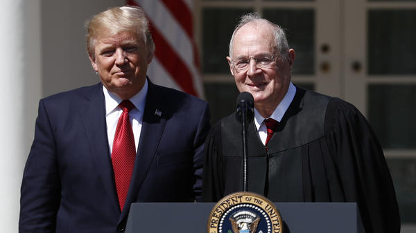 President Trump and Supreme Court Justice Anthony Kennedy, who announced his retirement on Wednesday, at the public swearing-in ceremony for Justice Neil Gorsuch at the White House in April 2017. Trump will announce his pick to replace Kennedy on July 9.