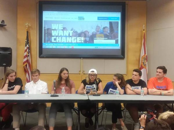Four teens from Marjory Stoneman Douglas, along with three local high schoolers, made up the panel for Wednesday's discussion in Sarasota.