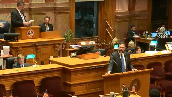 Sen. Randy Baumgardner, R-Hot Sulphur Springs, addresses allegations of sexual harassment during a failed vote to expel him on April 2, 2018.