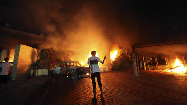 The U.S. Consulate in Benghazi was in flames during a protest by an armed group angry over a film ridiculing Islam's Prophet Muhammad.