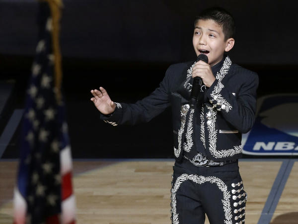 "Sebastien de la Cruz gave an encore performance of ""The Star-Spangled Banner"" before the NBA Finals game on Thursday."
