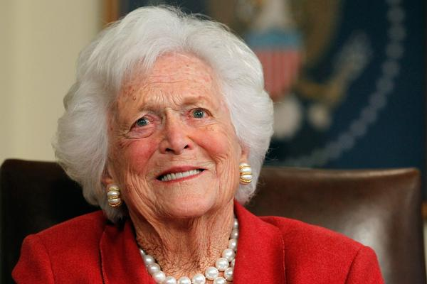 Mrs. Bush talks with Mitt Romney at former President George H.W. Bush's office on March 29, 2012, in Houston. Romney received an endorsement from George and Barbara Bush during the meeting.