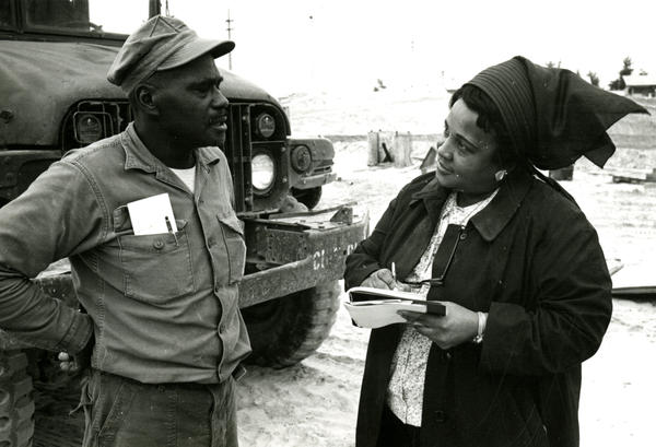 Ms. Payne interviewing a soldier from Chesapeake, Va., in Vietnam in 1967.