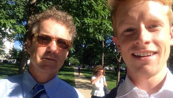 """We asked NPR listeners to send in their selfies with the 2016 candidates and around 50 people did.<strong> </strong>Gray Barrett (right) took this selfie with Rand Paul in Washington, D.C., this summer. """"Though I'm not a Rand Paul supporter, I couldn't pass up this opportunity!"""" he said."""