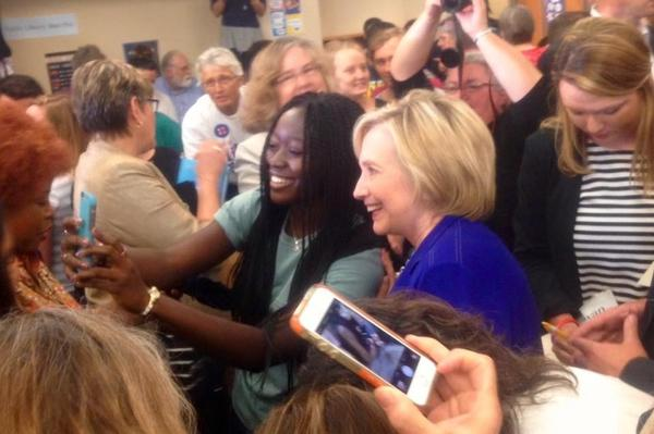 Maku Orleans-Pobee took a selfie with Hillary Clinton in the middle of a crowd in Iowa City, Iowa, earlier this week.