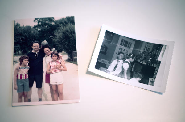 Photographs of Karen's father, Joseph, with her mother and sisters. He was killed in 1969.
