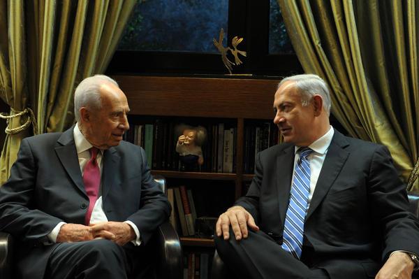 President Peres (left) with Prime Minister Benjamin Netanyahu at the President's Residence on Feb. 28, 2011, in Jerusalem.