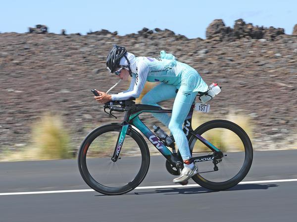Shirin Gerami on her bike at the 2016 Ironman triathlon in Hawaii.