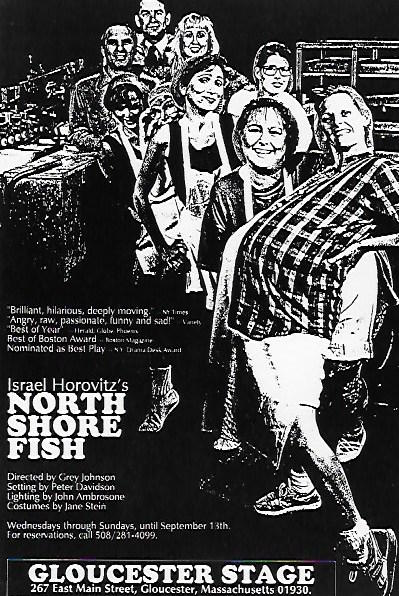 Poster for Israel Horovitz's production of <em>North Shore Fish</em>, whose cast included actor Laura Crook. Crook was one of the women who anonymously accused Horovitz of sexual misconduct in 1993.