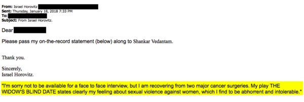"""We reached out to Israel Horovitz via email, phone, and mailed letters. Over email, he declined an interview, but said he finds sexual violence against women to be """"abhorrent and intolerable."""""""