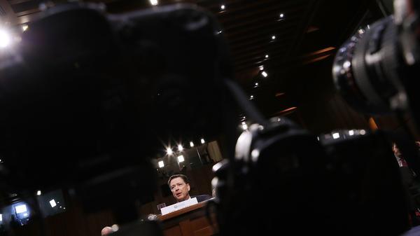 Former FBI Director James Comey testifies before the Senate intelligence committee on June 8, 2017.