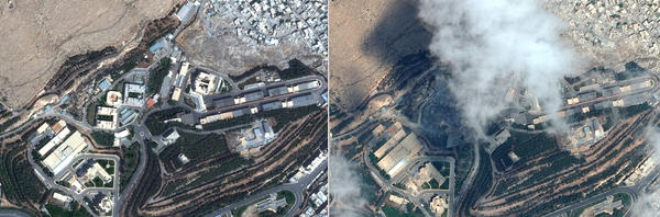 Satellite images taken a day before Saturday's missile attack (left) and the day of the attack (right) allegedly show the Barzeh research facility in northern Damascus.