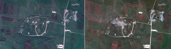 Satellite images taken the day before the missile attack (left) and the day of the attack (right) appear to show the Shinshar chemical weapons facility outside Homs.