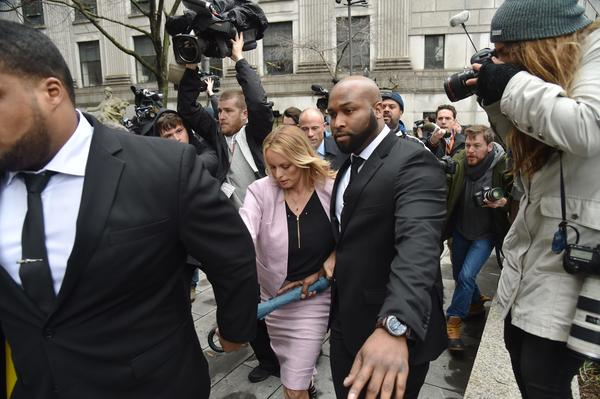 Adult film actress Stephanie Clifford, also known as Stormy Daniels, arrives for the court hearing in New York on Monday.