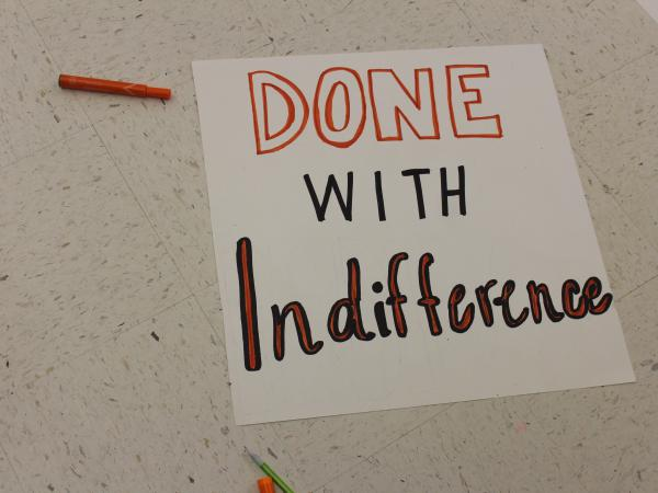 Student organizers at Ridgefield High School in Connecticut made posters to use at the nationwide school walkout on Friday to protest gun violence in schools.