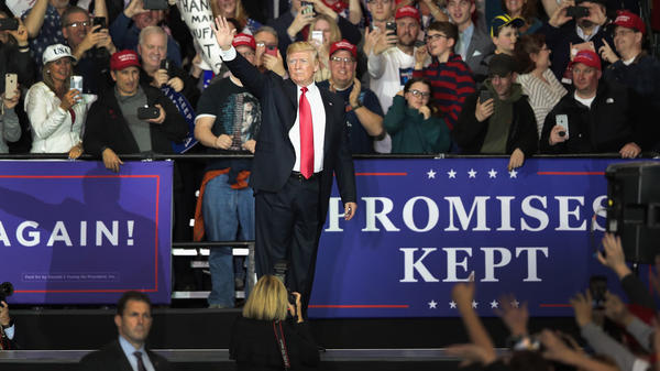 President Trump speaks to supporters during a campaign rally Saturday in in Washington Township, Mich.