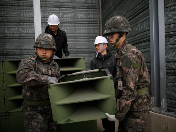 On Tuesday, South Korean soldiers dismantled loudspeakers that broadcast propaganda at the demilitarized zone separating the two Koreas.