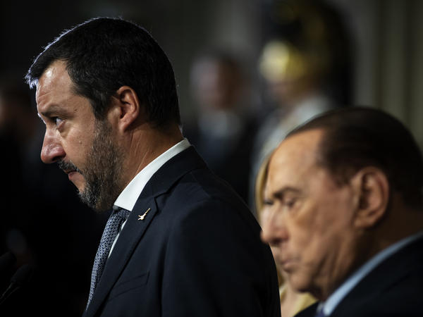Matteo Salvini, left, leader of Lega political party and Silvio Berlusconi, Leader of Forza Italia, speak to the media after meetings with Italian President Sergio Mattarella on Monday in Rome, Italy.
