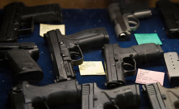 Pistols for sale at Target Masters in Garland, Texas in 2017