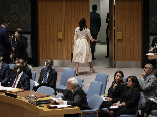 U.S. Ambassador to the United Nations Nikki Haley walks out as Riyad Mansour (bottom center), the permanent observer of Palestine to the U.N., addresses a Security Council meeting on Tuesday concerning the violence along the Gaza border.