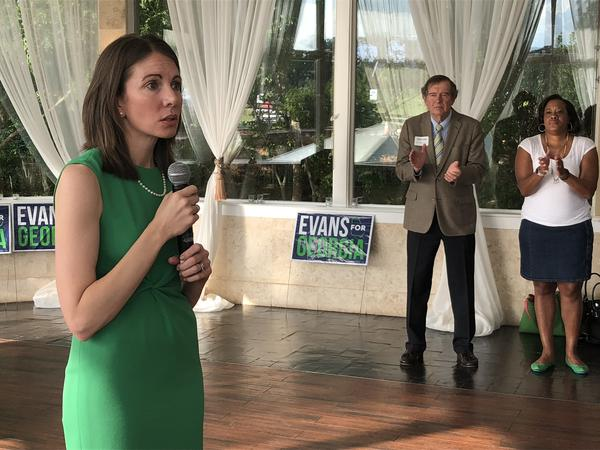 Stacey Evans thanks her supporters at a party to celebrate her 40th birthday.