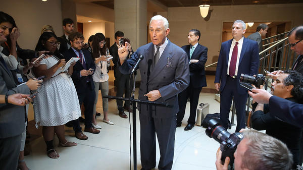 "Roger Stone, a longtime ally of President Trump, speaks to the media after appearing before the House Intelligence Committee during a closed door hearing last September. On Sunday, Stone bemoaned the ""excesses and partisanship"" of Robert Mueller's investigation."