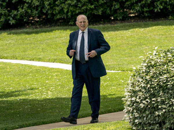 President Trump's chief of staff, John Kelly, arrives for a ceremony on the South Lawn of the White House on Monday.