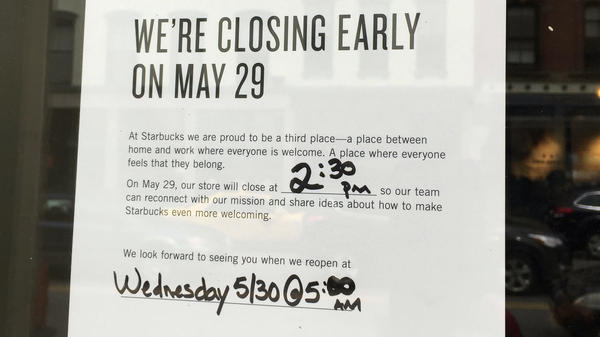 Starbucks is shutting down thousands of its coffee shops Tuesday afternoon to host racial bias training for its employees. A sign at one of the company's cafes in Portland, Maine, informs customers that it will shut its doors at 2:30 p.m. ET.