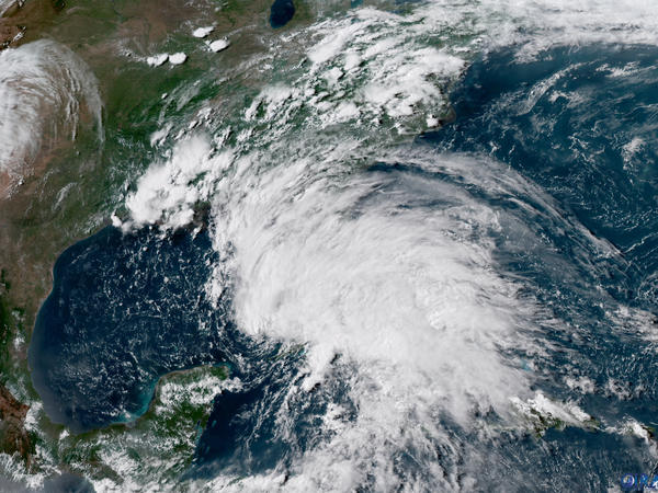 This GOES-16 GeoColor satellite image taken on May 26, at 21:30 UTC, and provided by the National Oceanic and Atmospheric Administration (NOAA), shows Subtropical Storm Alberto in the the Gulf of Mexico. The slow-moving system made landfall on Monday in the Florida Panhandle.