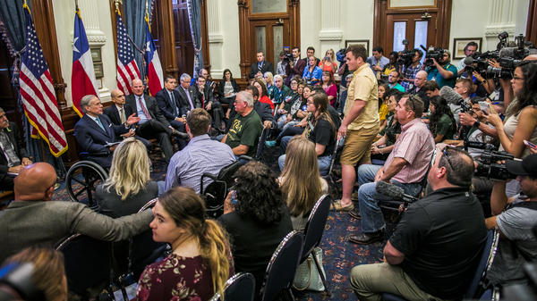 Texas Gov. Greg Abbot hosts a recent roundtable discussion with victims, families and friends affected by the Santa Fe, Texas, school shooting that killed 10 people earlier this month. People with ties to other recent mass shootings were also invited.