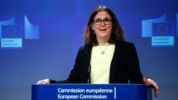 The EU will take its complaint over new U.S. tariffs to the World Trade Organization, according to Cecilia Malmström, the European commissioner for trade. Malmström spoke at a news conference Friday in Brussels.