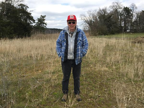 Bob Fitzgerald stands in a spot where frequent floods have killed 15 acres of soybean crops. Behind him is a row of phragmites, an invasive plant common in wetlands.