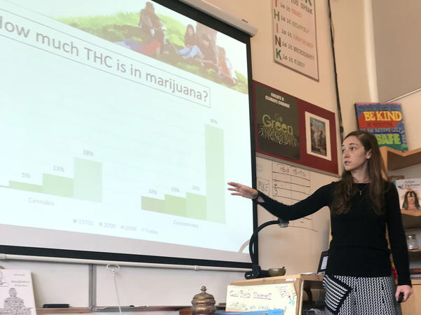 Ashley Brady explains the increase over time in marijuana potency to a class of eighth-graders at Marin Primary and Secondary School in Larkspur, California.