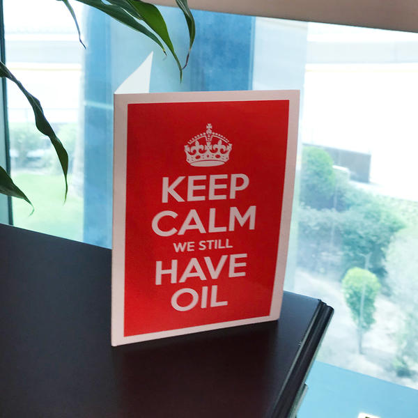 A card in an executive office of Saudi Aramco, Saudi Arabia's national oil company.