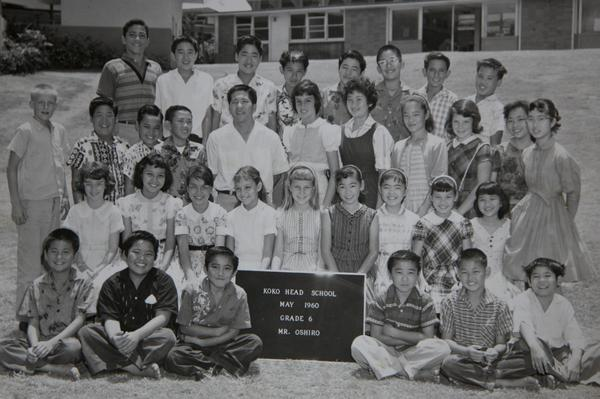 A sixth-grade class photo with the future Sen. Hirono in the second row from the back, fourth from right in a striped dress. Her teacher was Mr. Oshiro, with whom she is still in touch.