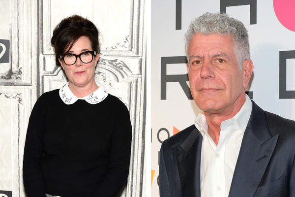 Designer Kate Spade is pictured in April 2017 in New York City. Anthony Bourdain is pictured in April 2018 in New York City. Both died in the same week.