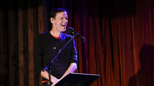 <em>Rolling Stone</em> music writer Rob Sheffield appears on Ask Me Another at the Bell House in Brooklyn, New York.